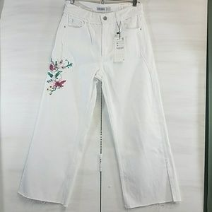 Zara Basic white distressed jeans embroidered